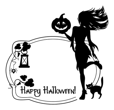 Silhouette of a young girl in the witch costume and holiday greeting Happy Halloween!.Vector clip art.