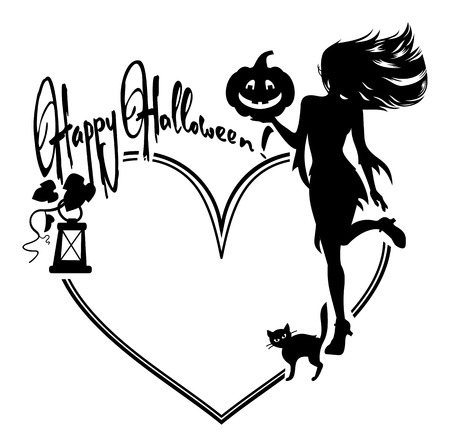 of helloween: Heart-shaped frame with girl silhouette. Halloween background. Witch, bats, broom, pumpkin. Vector clip art. Illustration