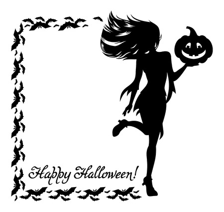 helloween: Silhouette of a young girl in the witch costume and holiday greeting Happy Halloween!. Vector clip art. Illustration