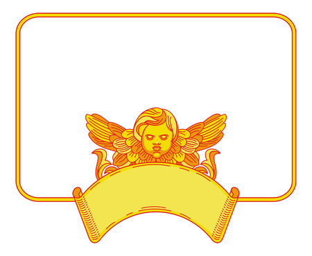 cherub: Yellow frame with cherub in vintage style. Custom element for design artworks. Vector clip art. Illustration