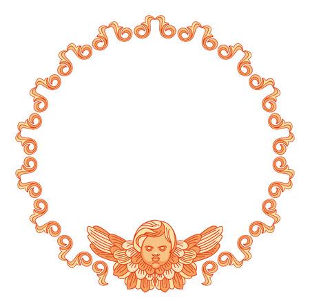 Round frame with cherubs in vintage style. Vector custom element for design artworks. Illustration