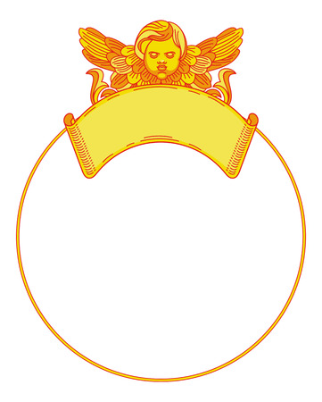 cherub: Yellow round frame with cherub in vintage style. Custom element for design artworks. Vector clip art. Illustration