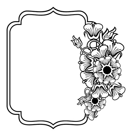 Vertical Contour Black And White Frame With Abstract Flowers ...