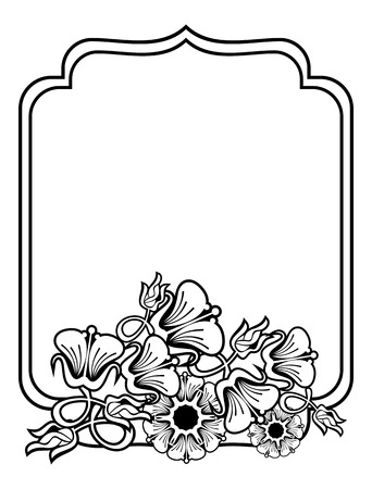embossing: Vertical contour black and white frame with abstract flowers. Line art design for coloring book, advertisements, wedding, invitations, labels and greeting cards. Vector clip art.