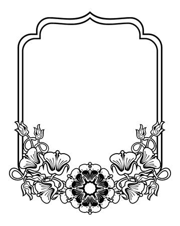 Vertikal Kontur Schwarz-Weiß-Rahmen Mit Abstrakten Blumen. Line Art ...