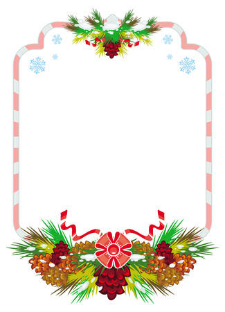 Holiday winter frame with pine branch, snow-flakes and cones. Vector clip art.