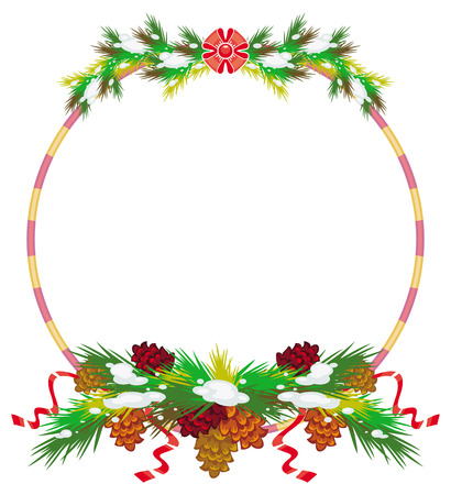 Holiday round frame with pine branch, snow-flakes and cones. Vector clip art.