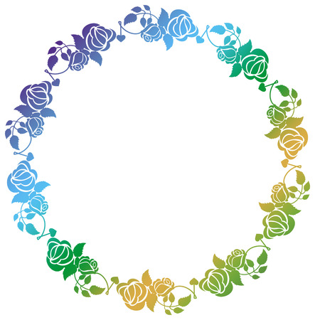 Beautiful round frame with gradient filled. Color frame with roses for advertisements, wedding invitations or greeting cards. Raster clip art.
