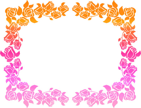Horizontal gradient frame with roses. Color frame with roses for advertisements, wedding invitations or greeting cards. Raster clip art. Stock Photo