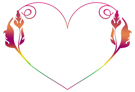 Beautiful raster gradient filled heart-shaped frame. Elegant background for advertisements, flyer, web, wedding and other invitations or greeting cards.