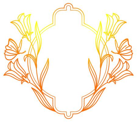 Color oval flower frame. Copy space. Raster clip art.