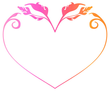Gradient heart-shaped frame. Copy space.  Raster clip art