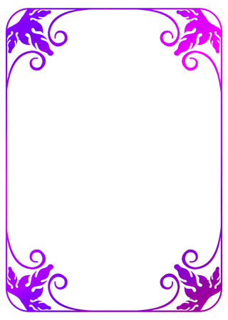Floral frame with gradient fill. Raster clip art outline drawing.