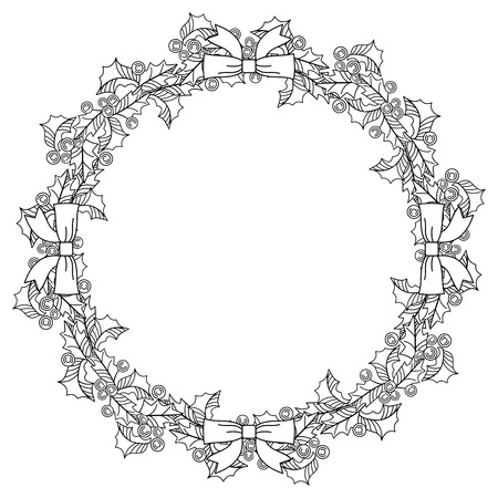 Christmas garland outline. Holly berry. Contour image of Christmas decoration. Vector clip art.