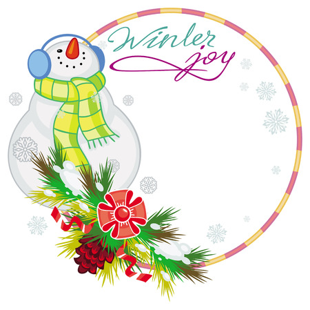 Round frame with snowman, pine branches, cones and greeting text:Winter joy. Christmas design element. Vector clip art.