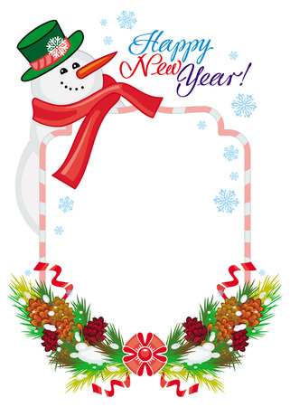 Holiday frame with snowman, pine branches, cones and greeting text:Happy New Year!. Christmas design element. Vector clip art. Illustration