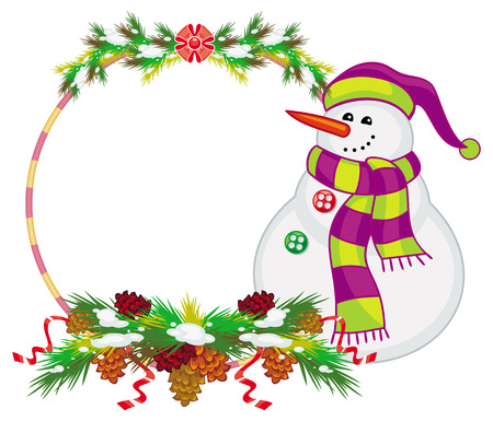 Round frame with snowman, pine branches and cones. Christmas design element. Vector clip art.