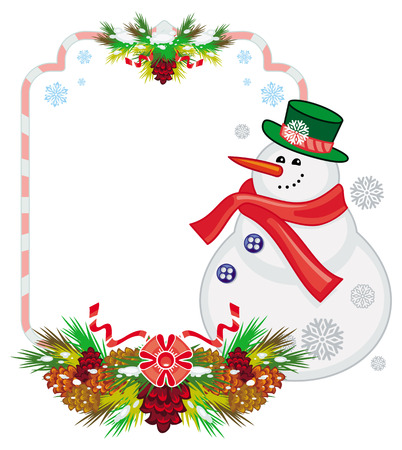 Holiday frame with snowman, pine branches and cones. Christmas design element. Vector clip art.
