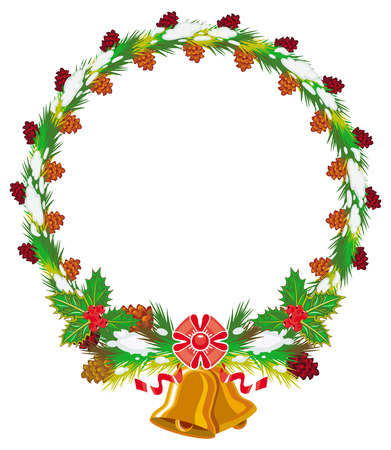 Holiday round garland decorated with pine branch, snow-flakes and cones. Christmas frame with free space for text, photo or picture. Design element for New Year decorations. Vector clip art. Illustration