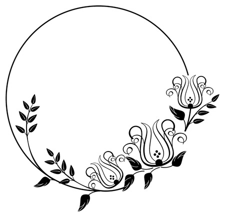 Black and white round frame with floral silhouettes. Copy space. Vector clip art.  イラスト・ベクター素材