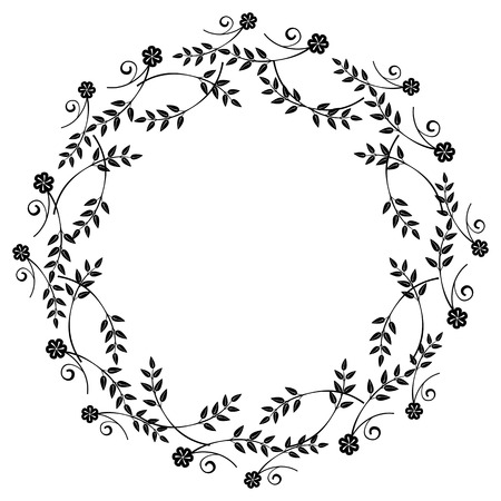 embossing: Black and white round frame with floral silhouettes.Copy space. Vector clip art.