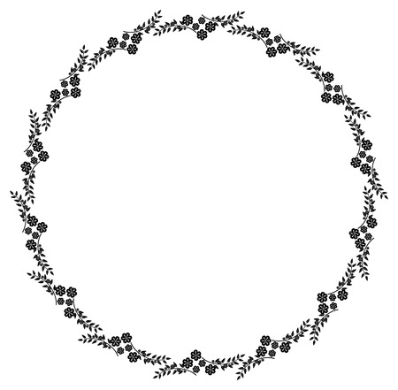 circle flower: Black and white round frame with floral silhouettes. Copy space. Vector clip art. Illustration