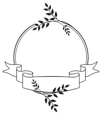 embossing: Black and white round frame with floral silhouettes. Copy space. Vector clip art. Illustration