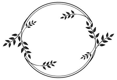 design frame: Black and white round frame with floral silhouettes. Copy space. Vector clip art. Illustration