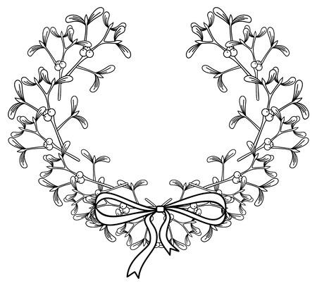 Wreath with mistletoe.Copy space. Outline vector image.