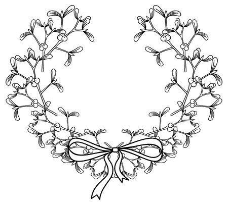 loop: Wreath with mistletoe.Copy space. Outline vector image.