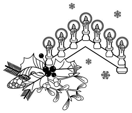 Contour image of a Christmas candlestick. Vector clip art. Illustration