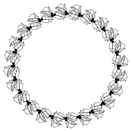 Contour Image Of Christmas Wreath With Holly Berry Copy Space