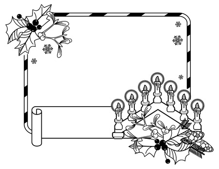 advent candles: Contour Christmas frame with holly berry, pine cones and Advent candles. Copy space. Vector clip art.