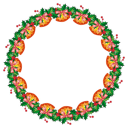 jingle bells: Round frame in shape of wreath with holly berry and jingle bells. Copy space. Christmas decoration.  clip art. Illustration