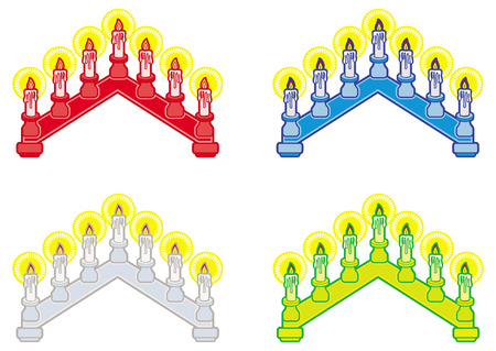 advent candles: Light Christmas candle arch isolated on a white background. Christmas decoration.clip art.