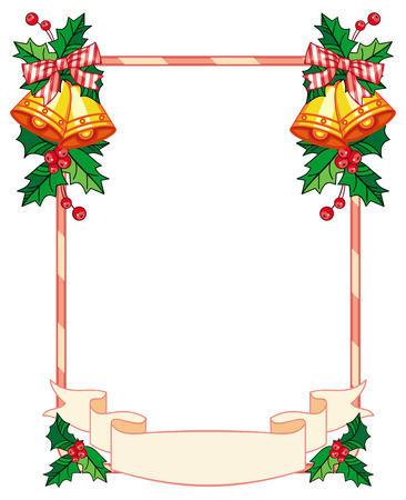 jingle bells: Vertical frame with holly berry and jingle bells. Copy space. Christmas decoration. clip art.