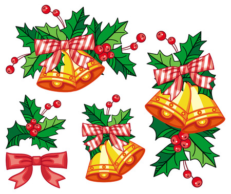 jingle bells: Set of golden jingle bells. Christmas decoration. Design elements for greetings cards, labels, invitations, stickers and other artistic works. clip art.