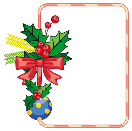 Vertical frame with holly berry and Christmas ornament. Copy space. Christmas decoration. clip art.