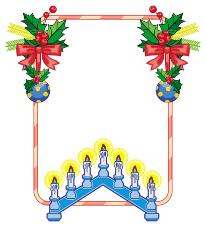 advent candles: Vertical frame with holly berry and light candle arch. Copy space. Christmas decoration. clip art.