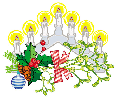 Light Christmas candle arch with holly berry and mistletoe. Christmas decoration.clip art. Illustration