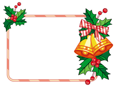 jingle bells: Horizontal frame with holly berry and jingle bells. Copy space. Christmas decoration. Vector clip art. Illustration