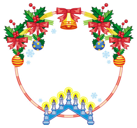 Round frame with holly berry, Christmas bells and light candle arch. Copy space. Christmas decoration. Vector clip art.