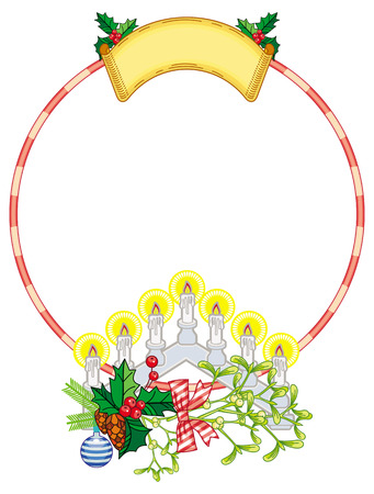 Round frame with holly berry and light candle arch. Copy space. Christmas decoration. Vector clip art.