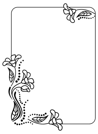 Black And White Frame Outline Decorative Flowers Copy Space