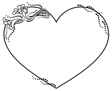 Czarno-biała ramka w kształcie serca z kwiatowymi sylwetkami. Skopiuj miejsce. Clip art wektor. Ilustracje wektorowe