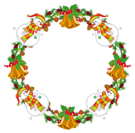 Round Christmas garland with happy snowman in funny hat and scarf. Christmas design element. Vector clip art.