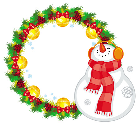 Round Christmas garland with happy snowman in  scarf. Christmas design element. Vector clip art. Illustration