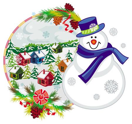 Feiertagsaufkleber Mit Glucklichem Schneemann Im Lustigen Hut Und Im