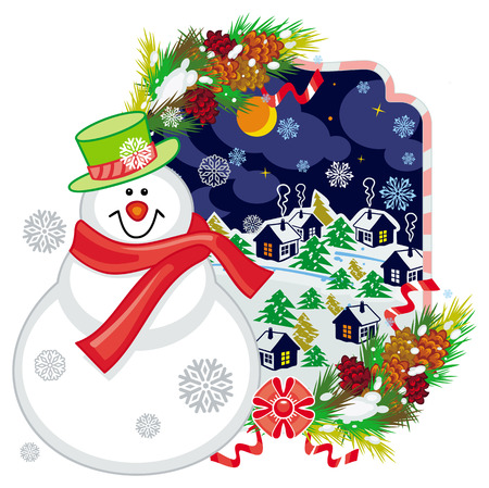 Holiday label with happy snowman in funny hat and scarf.  Winter village landscape. Christmas decoration. Vector clip art.