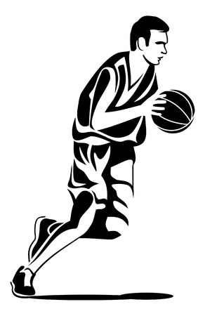 Basketball player with ball in hand. Silhouette of a sportsmen. Vector clip art.